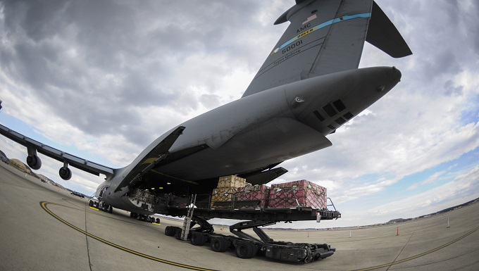 pallets loaded onto C-5 Galaxy cargo aircraft